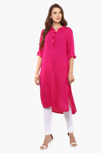 MELANGE Solid Roll-Up Sleeves Kurta