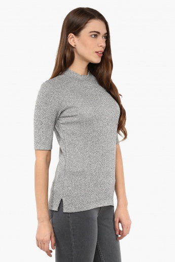 BOSSINI Raised Collar Knitted Top