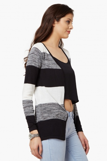 BOSSINI Striped Flat Knit Shrug