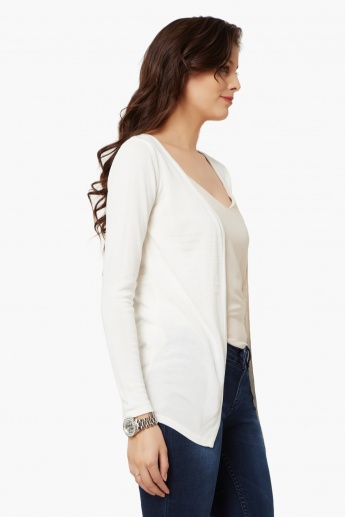 BOSSINI Full Sleeves Flat Knit Shrug