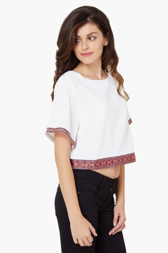 GINGER Embroidered Hem Flared Sleeves Top