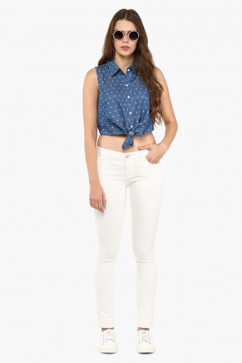 GINGER Chambray Polka Knotted Top