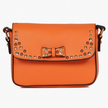 GINGER Bow Detail Studded Sling Bag