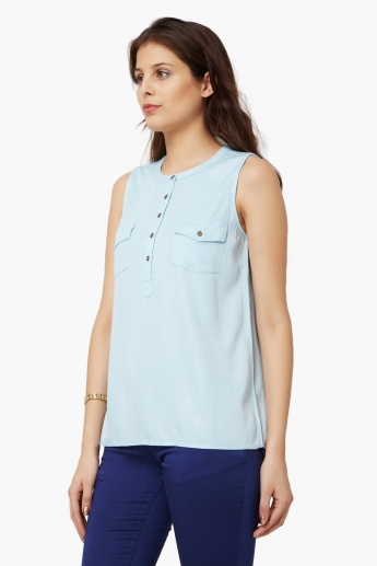 BOSSINI Solid Band Collar Top
