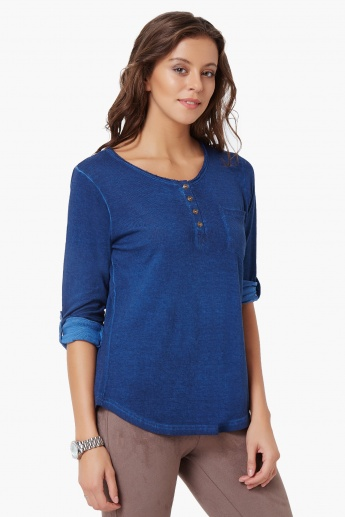FAME FOREVER Henley Neck Roll-Up Sleeves Top