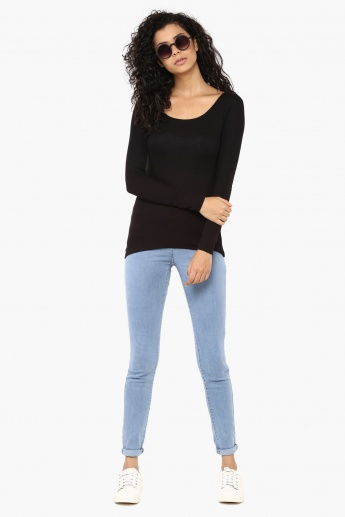 FAME FOREVER Solid Full Sleeves Top