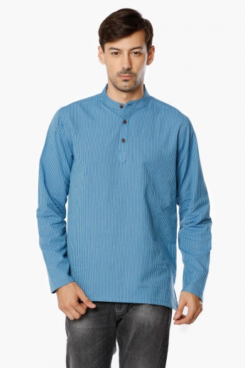 MELANGE Mandarin Collar Striped Short Kurta