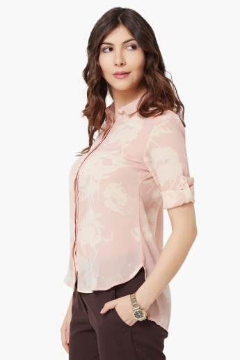 CODE Printed Concealed Placket Shirt