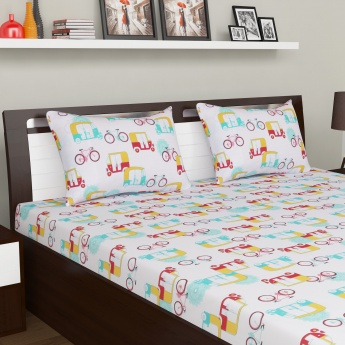 Hartford Double Bed Comforter With Double Bedsheets, Pillow Covers And Cushion Covers-Set Of 9 Pcs.