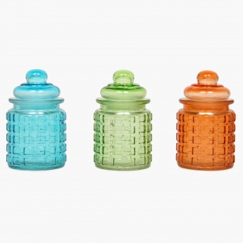Daria Glass Canister- 290 ml: Set Of 3 Pcs.