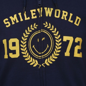 SMILEY Chest Imprint Pocketed Hoodie