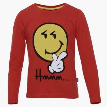 SMILEY Hmm Imprint Full Sleeves T-Shirt