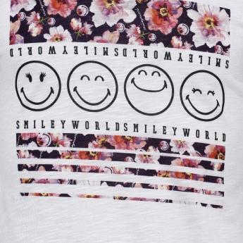 SMILEY Chest Imprint Full Sleeves Top