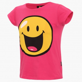 SMILEY Chest Imprint Round Neck T-Shirt