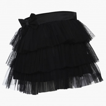 JUNIORS Bow Detail Tiered Net Skirt