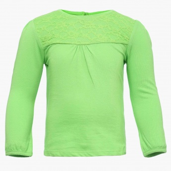 JUNIORS Solid Lacy Yoke Top