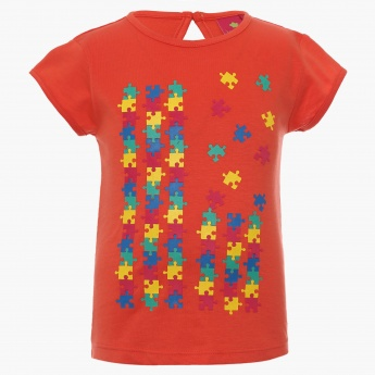 JUNIORS Puzzle Imprint Round Neck Top