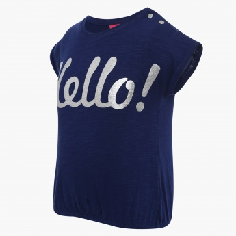 JUNIORS Hello Imprint Top