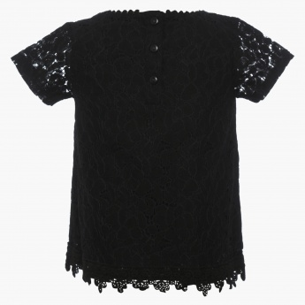 JUNIORS Lace Overlay Round Neck Top