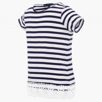 FAME FOREVER Striped Lace Trim Top