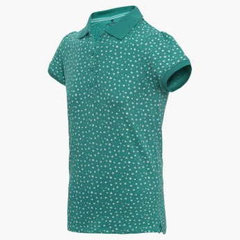 FAME FOREVER Starry Print Polo Neck T-Shirt