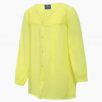 FAME FOREVER Lace Placket Button Up Blouse