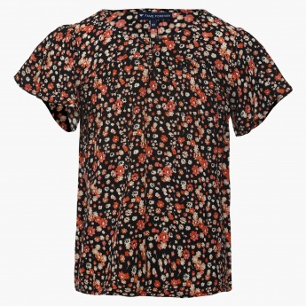 FAME FOREVER Floral Print Button-Up Top