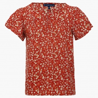 FAME FOREVER Button-Up Neck Floral Print Top
