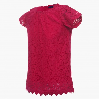 FAME FOREVER Lace Overlay Top