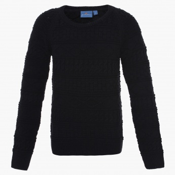 JUNIORS Full Sleeves Crew Neck Sweater
