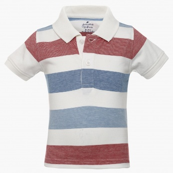 JUNIORS Striped Polo Neck T-Shirt