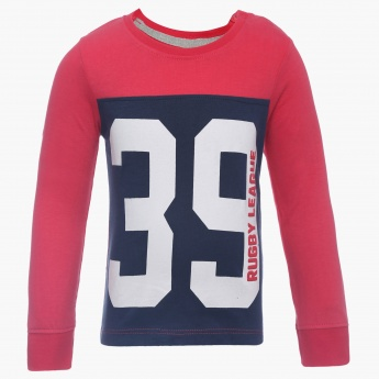 JUNIORS Number Imprint Full Sleeves T-Shirt