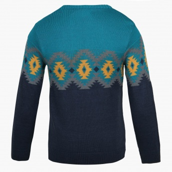 FAME FOREVER Tribal Touch Crew Neck Sweater