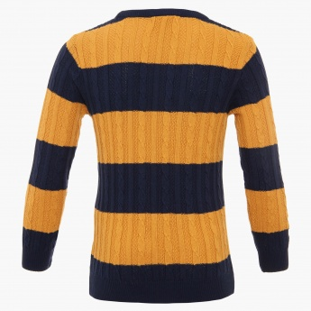 FAME FOREVER Striped Crew Neck Sweater