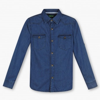 BOSSINI Solid Flap Pocket Denim Shirt