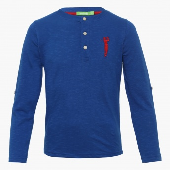 BOSSINI Full Sleeves Henley Collar T-Shirt