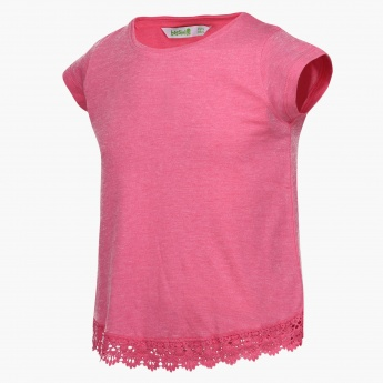 BOSSINI Solid Lace Trim Top
