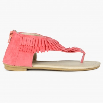 JUNIORS Fringed Ankle Zip Sandals