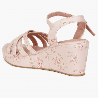 JUNIORS Floral Print Wedge Sandals