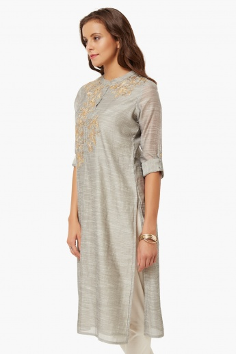 MELANGE Embroidered Band Collar Kurta