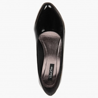 RAW HIDE Patent Finish Pumps