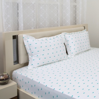 Mandarin Printed Double Bedsheet Set- 3 Pcs.