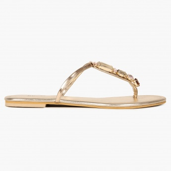 INC.5 Faux Crystal Metallic Sandals