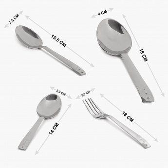 FNS Stainless Steel Cutlery Stand- Set Of 24
