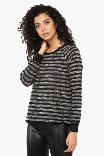 GINGER Striped Full Sleeves Sweater