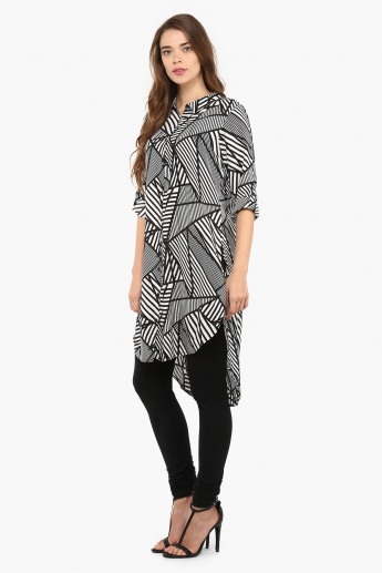 MELANGE Mesh Print High Low Kurta