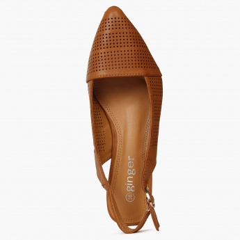 GINGER Tan Sling-Back Kitten Heels