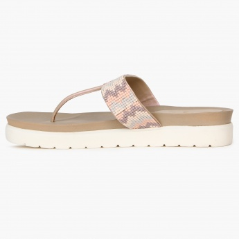 GINGER Grunge Sole Beaded Strap Flatforms