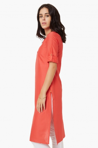 AURELIA Solid Band Collar Kurta
