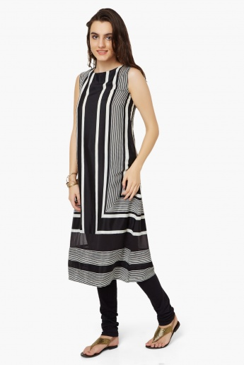 W Striped Sleeveless Kurta